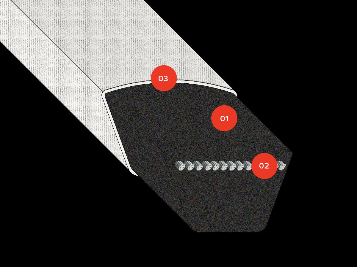 v-belts rubber wrapped xdv2 components